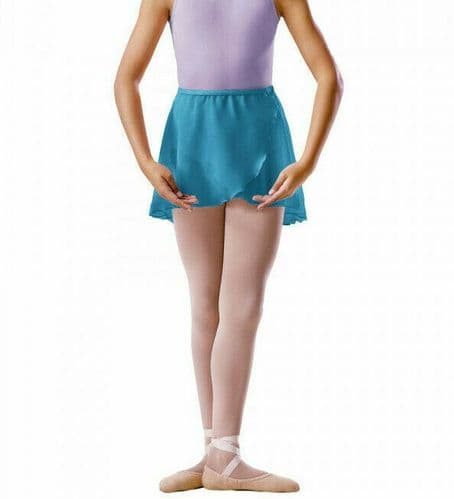 Bloch Girls CrossOver Mock Wrap Chiffon Skirt Dance Ballet Uniform BU601C Marine